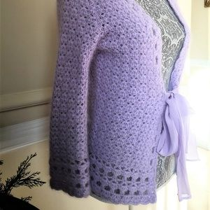 Dana Buchman Sweaters - NWOT Dana Buchman Lilac Angora Cardigan w/Silk Tie